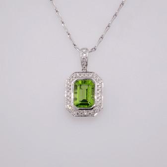 9ct white gold peridot and diamond pendant PE4791