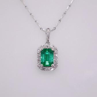 18ct white gold emerald and diamond pendant PE5107