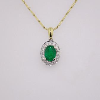 18ct gold emerald and diamond cluster pendant PE4976