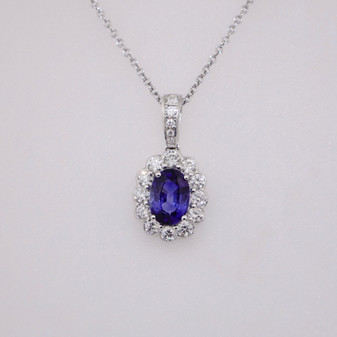 18ct white gold sapphire and diamond cluster pendant PE5088