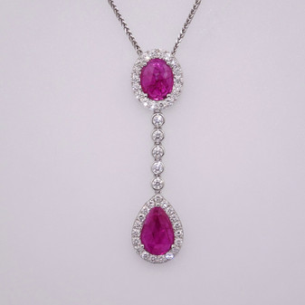 18ct white gold ruby and diamond pendant PE4752