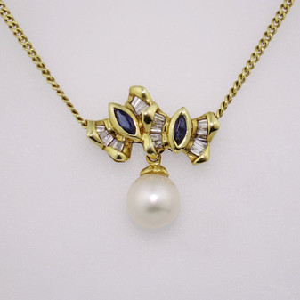 18ct gold sapphire, pearl and diamond pendant PE1856