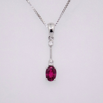 18ct white gold ruby and diamond pendant PE4761