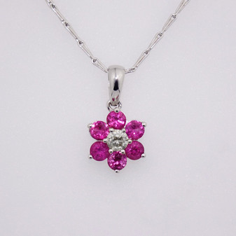 18ct white gold ruby and diamond inverted cluster pendant PE3838