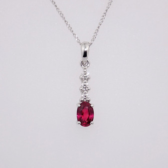18ct white gold ruby and diamond pendant PE4818