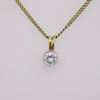 18ct gold diamond solitaire pendant PE3149