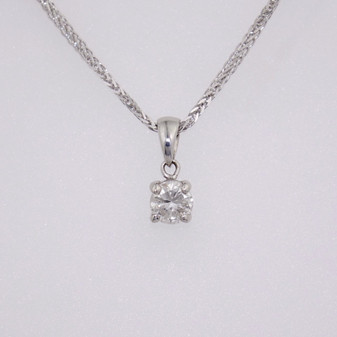 9ct white gold diamond solitaire pendant PE5051
