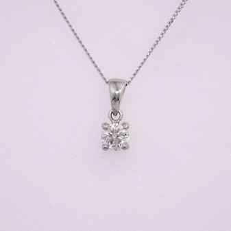 9ct white gold diamond solitaire pendant PE5040