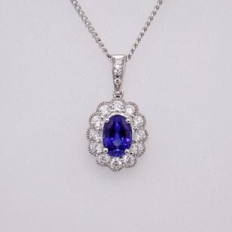18ct white gold sapphire and diamond pendant PE4972