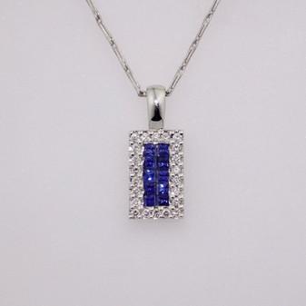 18ct white gold sapphire and diamond pendant PE4333