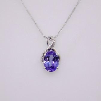 9ct white gold tanzanite and diamond pendant PE5163