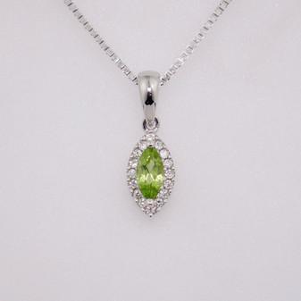9ct white gold peridot and diamond cluster pendant PE4512