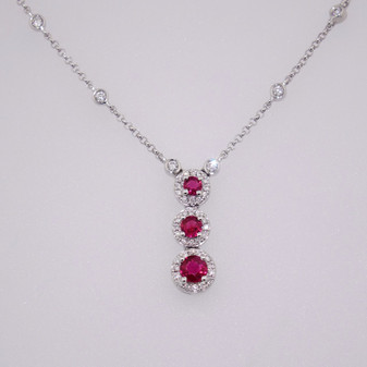 18ct white gold ruby and diamond pendant PE4804
