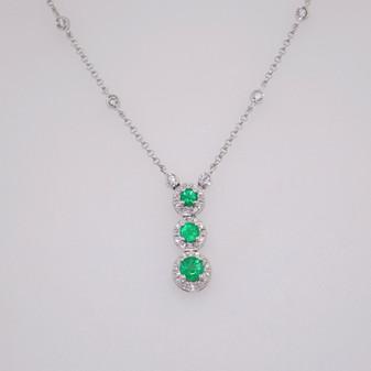 18ct white gold emerald and diamond pendant PE4958