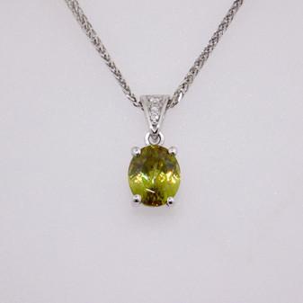 18ct white gold sphene and diamond pendant PE4489