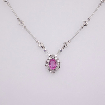 18ct white gold pink sapphire and diamond necklace PE3853