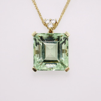9ct yellow gold prasiolite and diamond pendant PE4621