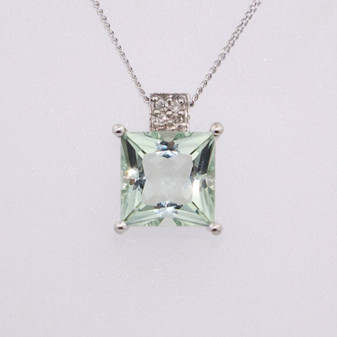 9ct white gold prasiolite and diamond pendant PE4478