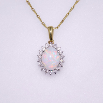 18ct yellow gold opal and diamond cluster pendant PE4739