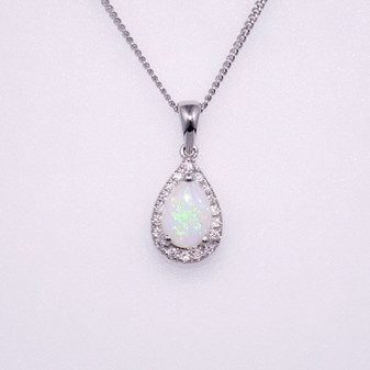 9ct white gold opal and diamond pendant PE4565