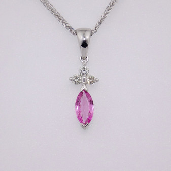 9ct white gold marquise cut pink sapphire and diamond pendant PE3888