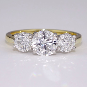 18ct yellow gold and platinum diamond trilogy ring GR3368