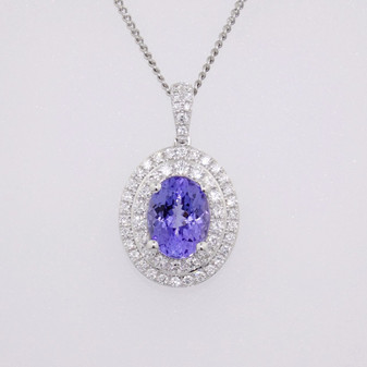 18ct white gold tanzanite and diamond pendante PE5286