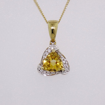 9ct gold citrine and diamond pendant PE4275