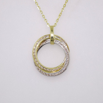 9ct white and yellow gold CZ necklace PE5177