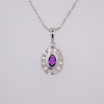 9ct white gold amethyst and diamond pendant PE4666