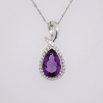 18ct white gold amethyst and diamond pendant PE4236