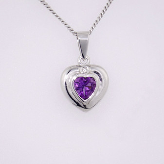 18ct white gold amethyst and diamond pendant PE3626