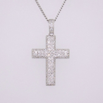 18ct white gold diamond cross pendant PE4803