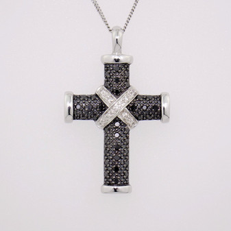 9ct white gold diamond-set cross pendant PE4539