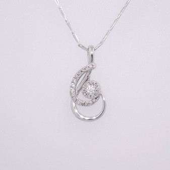 9ct white gold diamond pendant PE4678