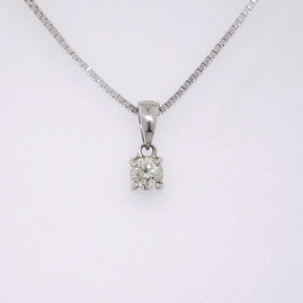9ct white gold diamond solitaire pendant PE5052