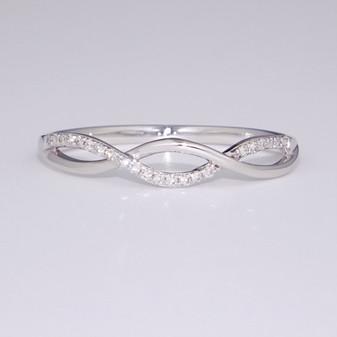 9ct white gold open weave diamond ring ET1427