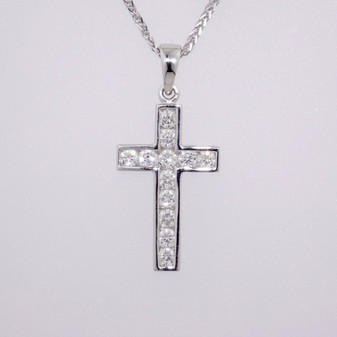 9ct white gold channel-set diamond cross pendant PE4700