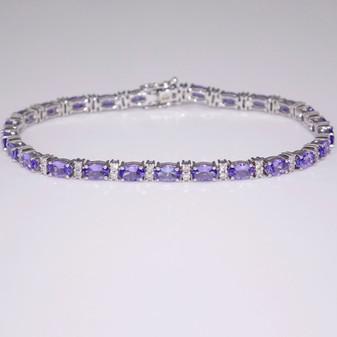 9ct white gold tanzanite and diamond bracelet BRA5607