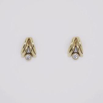 9ct yellow gold CZ stud earrings ER4494