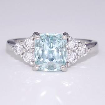 Platinum aquamarine and diamond ring GR5993