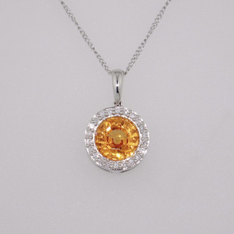 18ct white gold spessartine garnet and diamond pendant PE4552