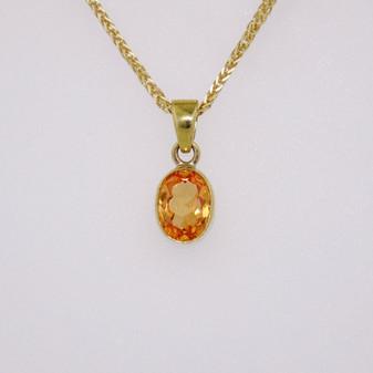 9ct yellow gold mandarin garnet pendant PE3347