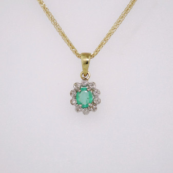 9ct gold emerald and diamond pendant PE4442