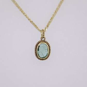 9ct yellow gold emeral pendant PE1964