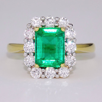 18ct gold emerald and diamond cluster ring GR4086
