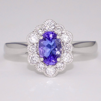 18ct white gold tanzanite and diamond ring GR4111