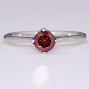 Platinum treated fancy vivid pink diamond solitaire ring GR4134