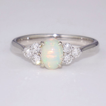 9ct white gold opal and diamond ring GR5922