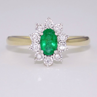 9ct yellow gold emerald and diamond cluster ring GR5733